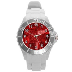 Red Background Patchwork Flowers Round Plastic Sport Watch (l) by BangZart
