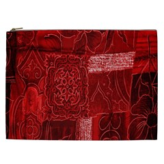 Red Background Patchwork Flowers Cosmetic Bag (xxl)  by BangZart