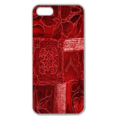 Red Background Patchwork Flowers Apple Seamless Iphone 5 Case (clear)