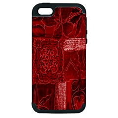 Red Background Patchwork Flowers Apple Iphone 5 Hardshell Case (pc+silicone) by BangZart