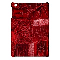Red Background Patchwork Flowers Apple Ipad Mini Hardshell Case by BangZart