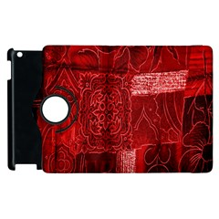 Red Background Patchwork Flowers Apple Ipad 3/4 Flip 360 Case by BangZart