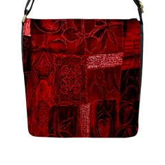 Red Background Patchwork Flowers Flap Messenger Bag (l)  by BangZart
