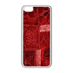 Red Background Patchwork Flowers Apple Iphone 5c Seamless Case (white) by BangZart