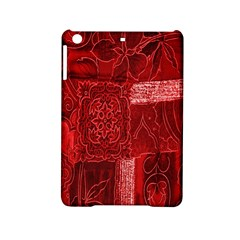 Red Background Patchwork Flowers Ipad Mini 2 Hardshell Cases