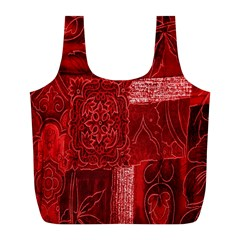 Red Background Patchwork Flowers Full Print Recycle Bags (l)