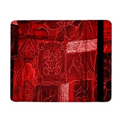 Red Background Patchwork Flowers Samsung Galaxy Tab Pro 8 4  Flip Case
