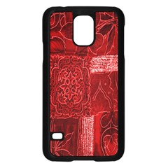 Red Background Patchwork Flowers Samsung Galaxy S5 Case (black)