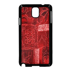 Red Background Patchwork Flowers Samsung Galaxy Note 3 Neo Hardshell Case (black)