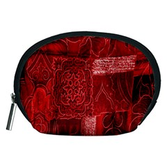 Red Background Patchwork Flowers Accessory Pouches (medium)