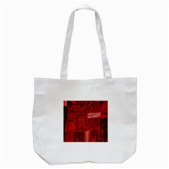 Red Background Patchwork Flowers Tote Bag (white) by BangZart