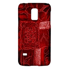 Red Background Patchwork Flowers Galaxy S5 Mini by BangZart