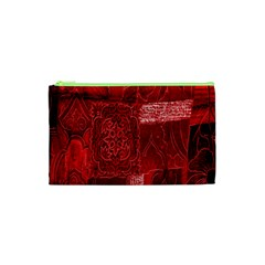 Red Background Patchwork Flowers Cosmetic Bag (xs)