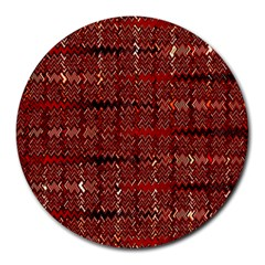 Rust Red Zig Zag Pattern Round Mousepads