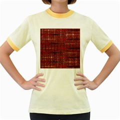 Rust Red Zig Zag Pattern Women s Fitted Ringer T Shirts by BangZart