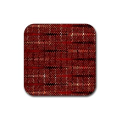 Rust Red Zig Zag Pattern Rubber Square Coaster (4 Pack)  by BangZart