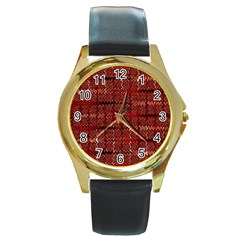 Rust Red Zig Zag Pattern Round Gold Metal Watch by BangZart