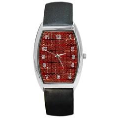 Rust Red Zig Zag Pattern Barrel Style Metal Watch by BangZart