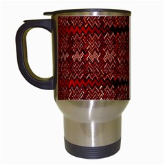 Rust Red Zig Zag Pattern Travel Mugs (white)