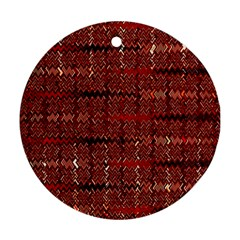 Rust Red Zig Zag Pattern Round Ornament (two Sides)
