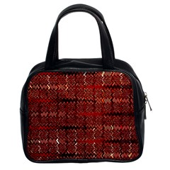 Rust Red Zig Zag Pattern Classic Handbags (2 Sides) by BangZart