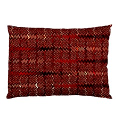 Rust Red Zig Zag Pattern Pillow Case by BangZart