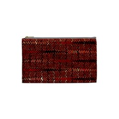 Rust Red Zig Zag Pattern Cosmetic Bag (small)  by BangZart