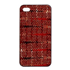 Rust Red Zig Zag Pattern Apple Iphone 4/4s Seamless Case (black) by BangZart