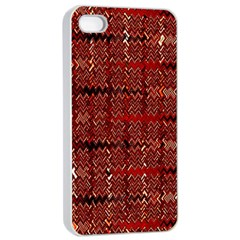 Rust Red Zig Zag Pattern Apple Iphone 4/4s Seamless Case (white) by BangZart