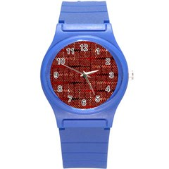 Rust Red Zig Zag Pattern Round Plastic Sport Watch (s) by BangZart