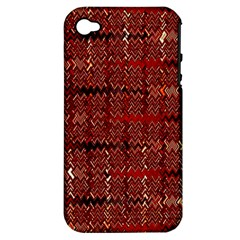 Rust Red Zig Zag Pattern Apple Iphone 4/4s Hardshell Case (pc+silicone) by BangZart