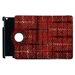 Rust Red Zig Zag Pattern Apple Ipad 2 Flip 360 Case by BangZart
