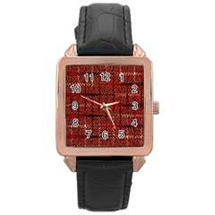 Rust Red Zig Zag Pattern Rose Gold Leather Watch