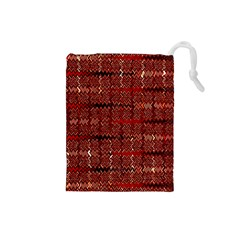 Rust Red Zig Zag Pattern Drawstring Pouches (small)  by BangZart