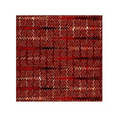 Rust Red Zig Zag Pattern Small Satin Scarf (square)