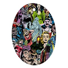 Vintage Horror Collage Pattern Ornament (oval)