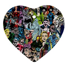 Vintage Horror Collage Pattern Ornament (heart)
