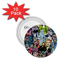 Vintage Horror Collage Pattern 1 75  Buttons (10 Pack) by BangZart