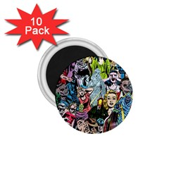 Vintage Horror Collage Pattern 1 75  Magnets (10 Pack)