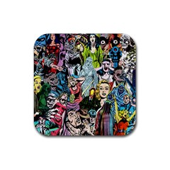Vintage Horror Collage Pattern Rubber Square Coaster (4 Pack)  by BangZart