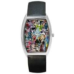 Vintage Horror Collage Pattern Barrel Style Metal Watch by BangZart