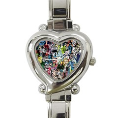 Vintage Horror Collage Pattern Heart Italian Charm Watch by BangZart