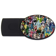 Vintage Horror Collage Pattern Usb Flash Drive Oval (4 Gb) by BangZart
