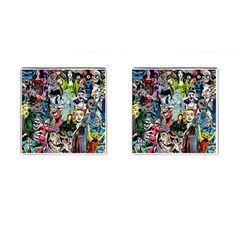 Vintage Horror Collage Pattern Cufflinks (square)