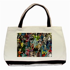 Vintage Horror Collage Pattern Basic Tote Bag by BangZart