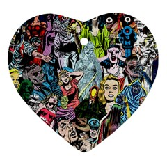Vintage Horror Collage Pattern Heart Ornament (two Sides) by BangZart