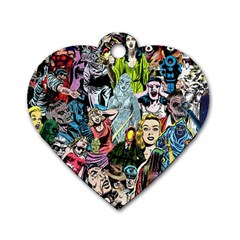 Vintage Horror Collage Pattern Dog Tag Heart (one Side)