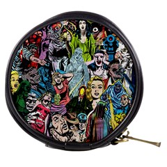 Vintage Horror Collage Pattern Mini Makeup Bags