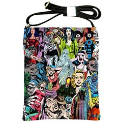 Vintage Horror Collage Pattern Shoulder Sling Bags by BangZart