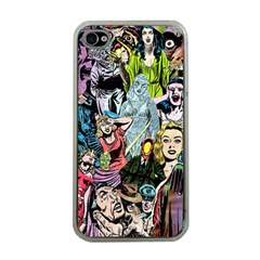 Vintage Horror Collage Pattern Apple Iphone 4 Case (clear)
